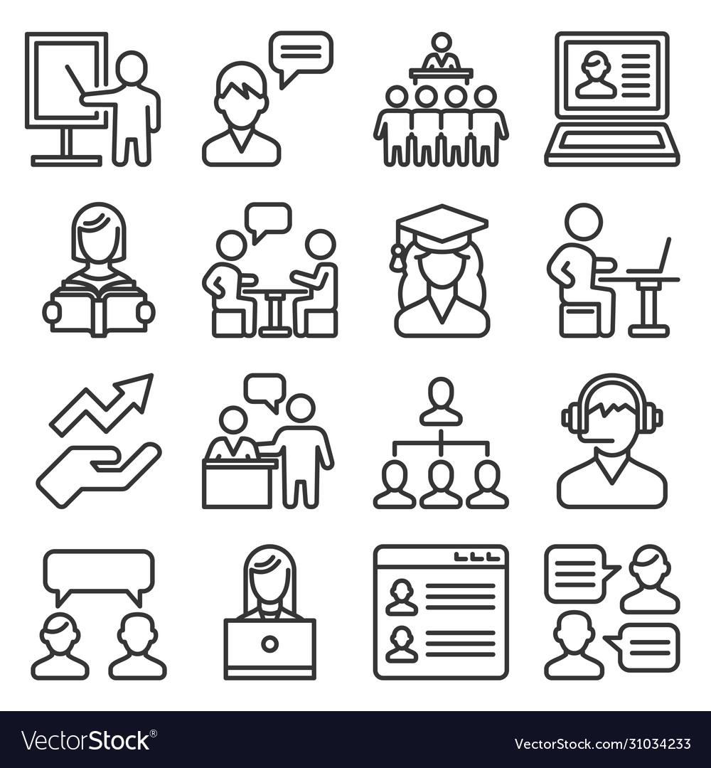 Teacher and presentation icons set line style