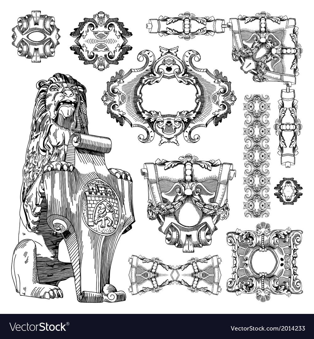 Vintage sketch ornamental design element