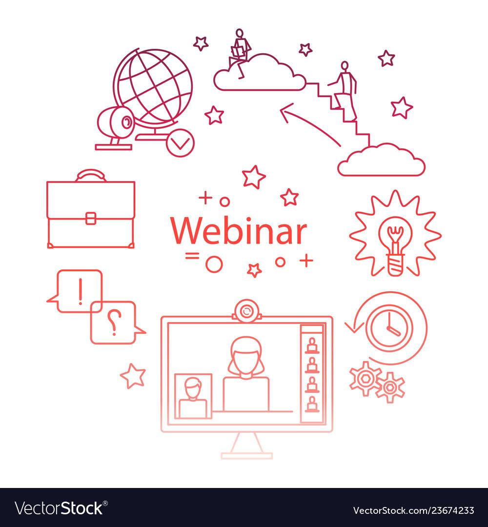 Webinar line icon online education