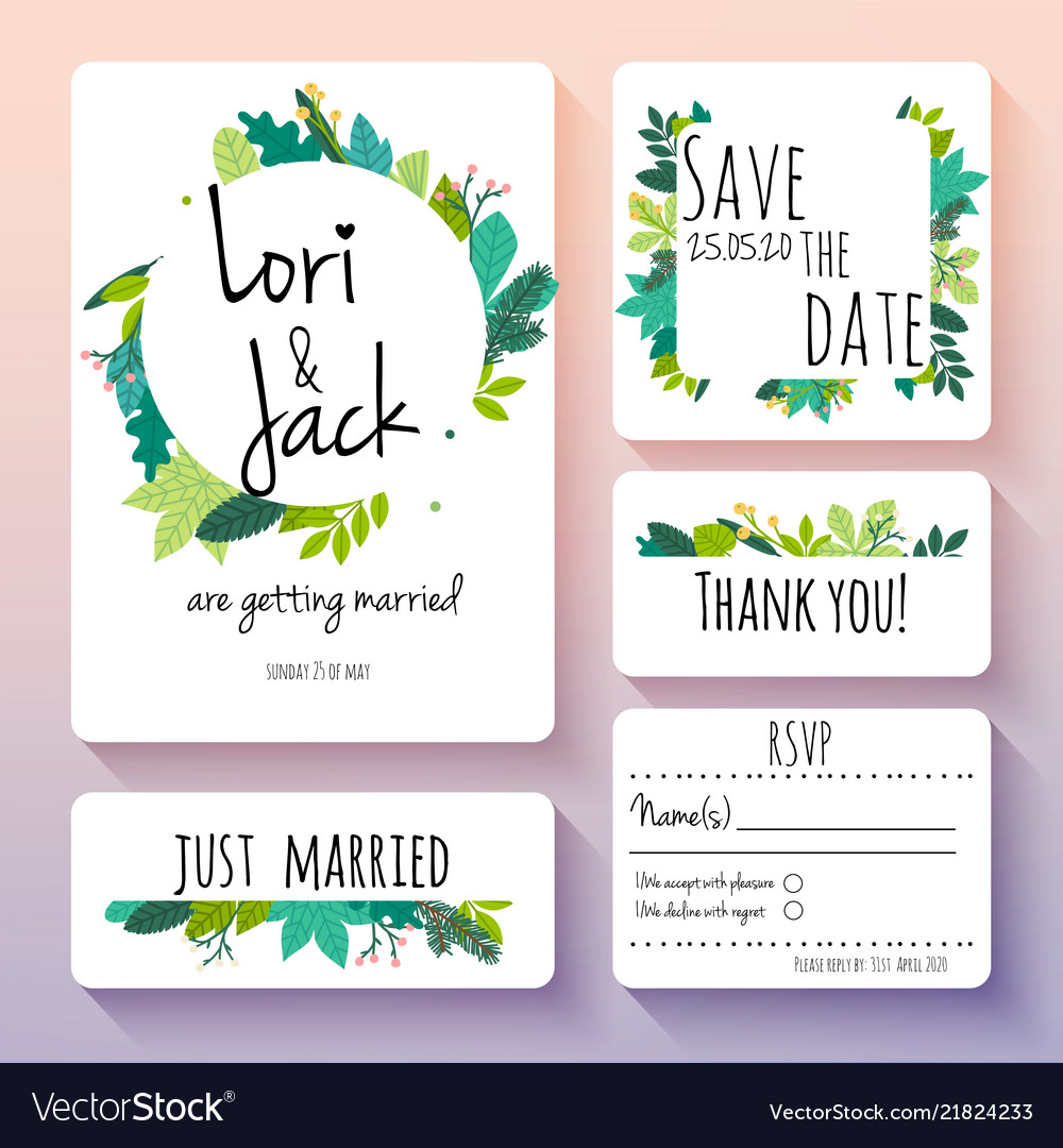 Wedding invitation card set thank you save the