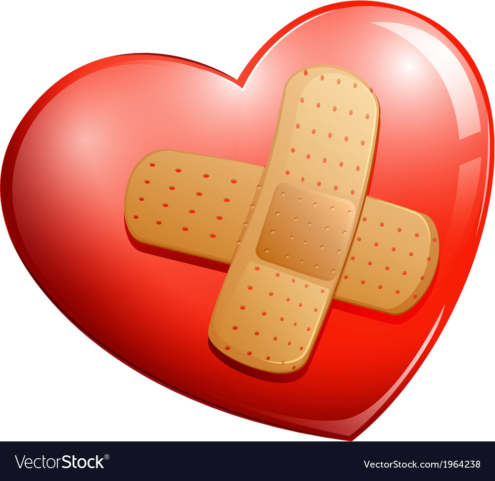 A heart with a plaster vector image