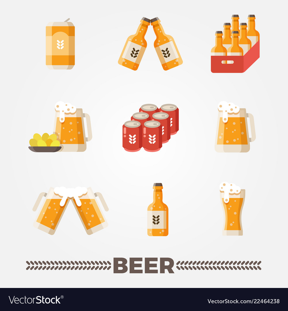 Beer flat icons set oktoberfest