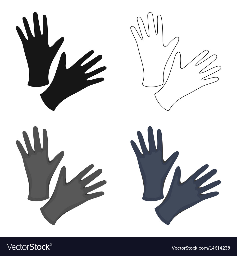 Black protective rubber gloves icon cartoon