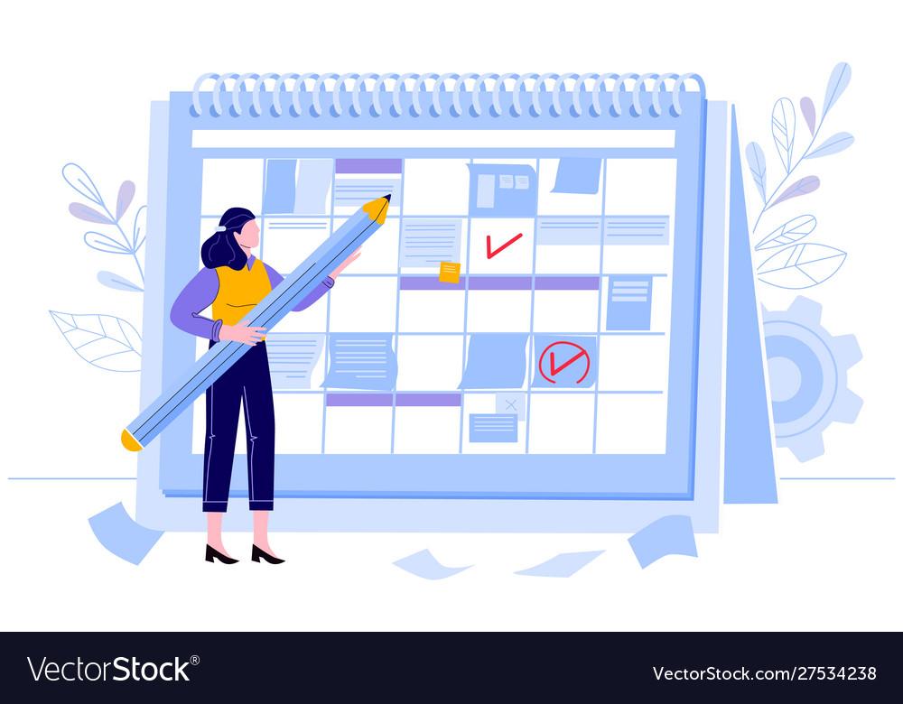 Business woman check calendar planning day work