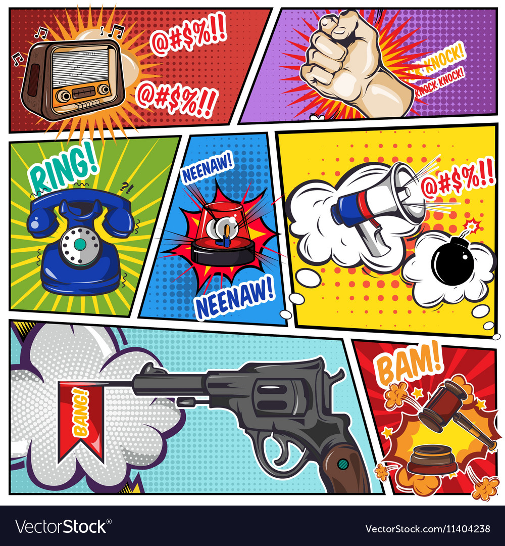 comics book page with sound effects royalty free vector