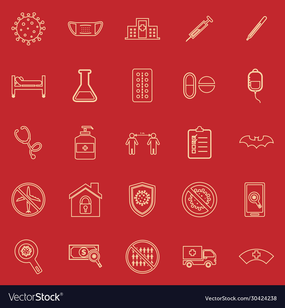 Coronavirus line color icons on red background