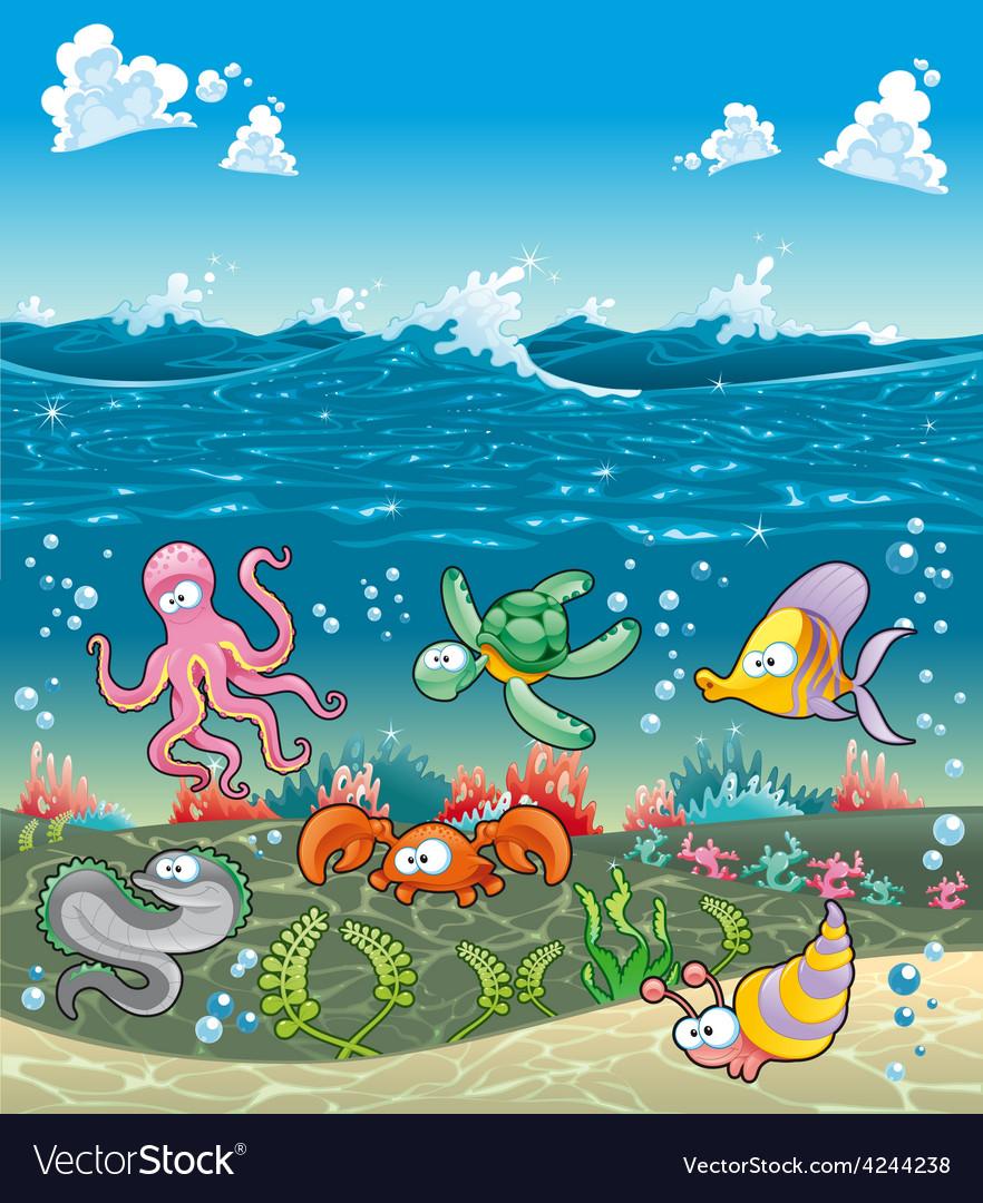 Family of marine animals under the sea