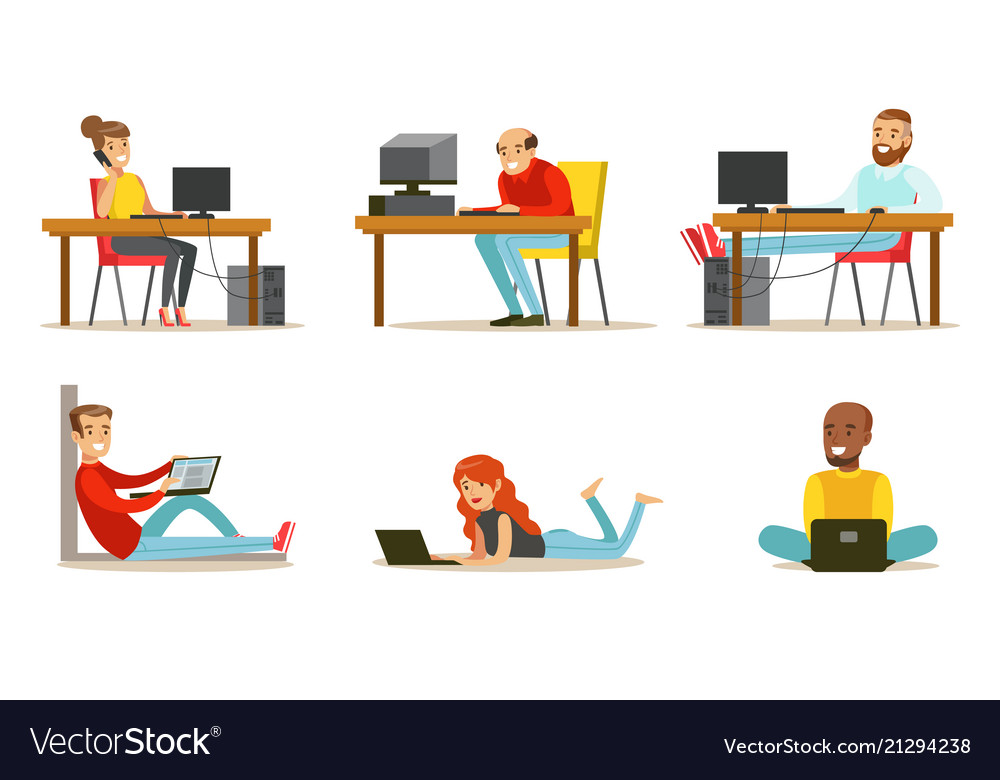Flat set cartoon peoples with laptops
