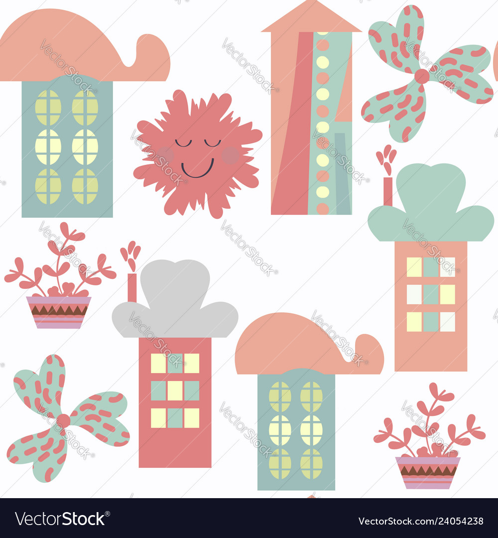 Houses abstract modern city seamless pattern it