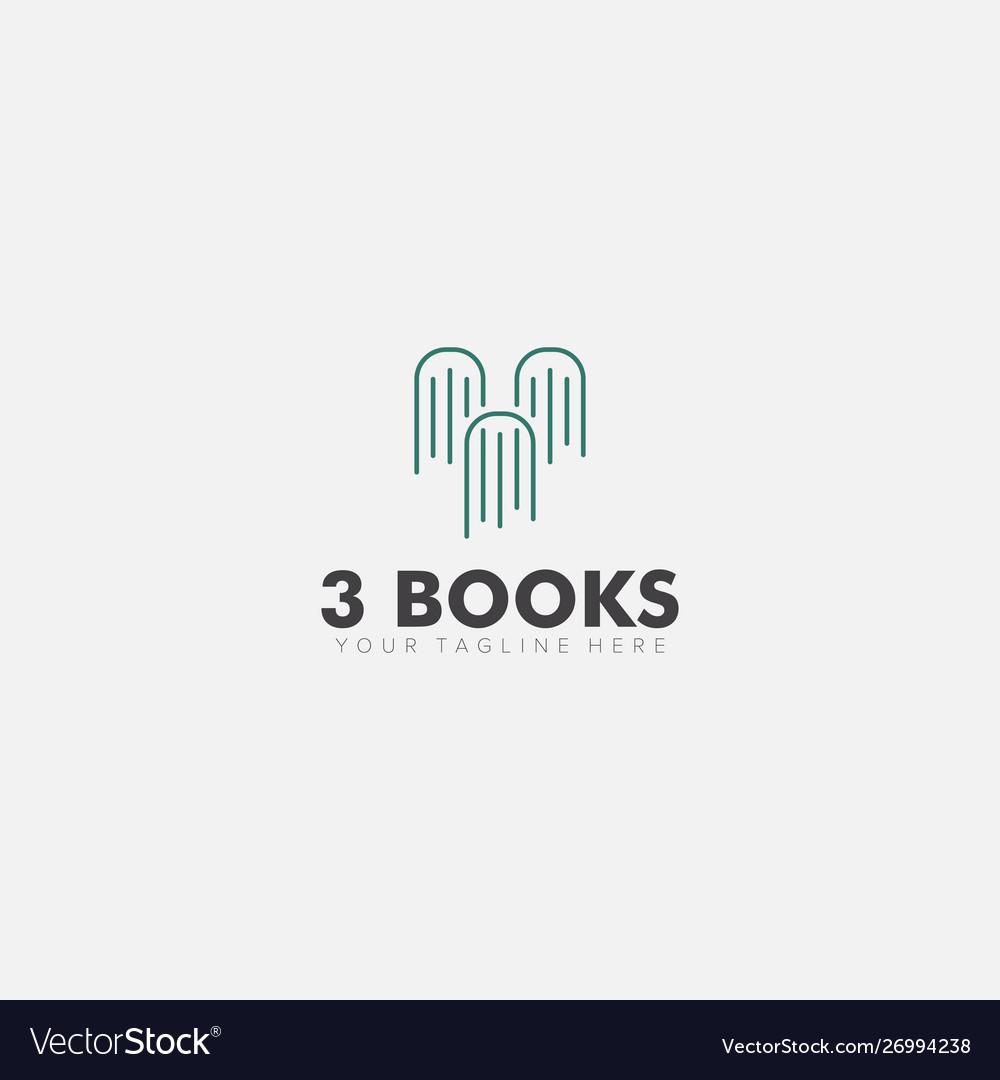 Line art with three books rocket logo designs vector image