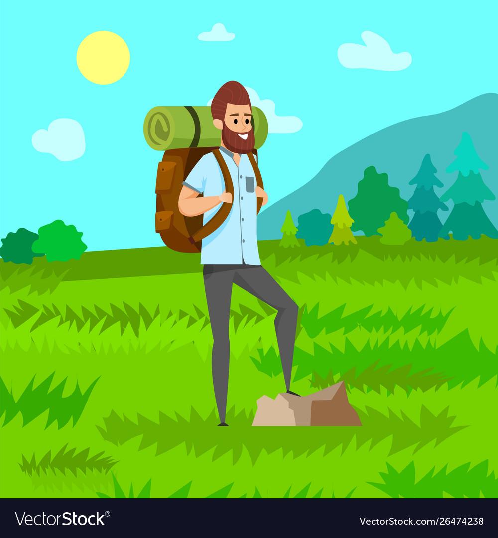 Man hiking green nature travel hob