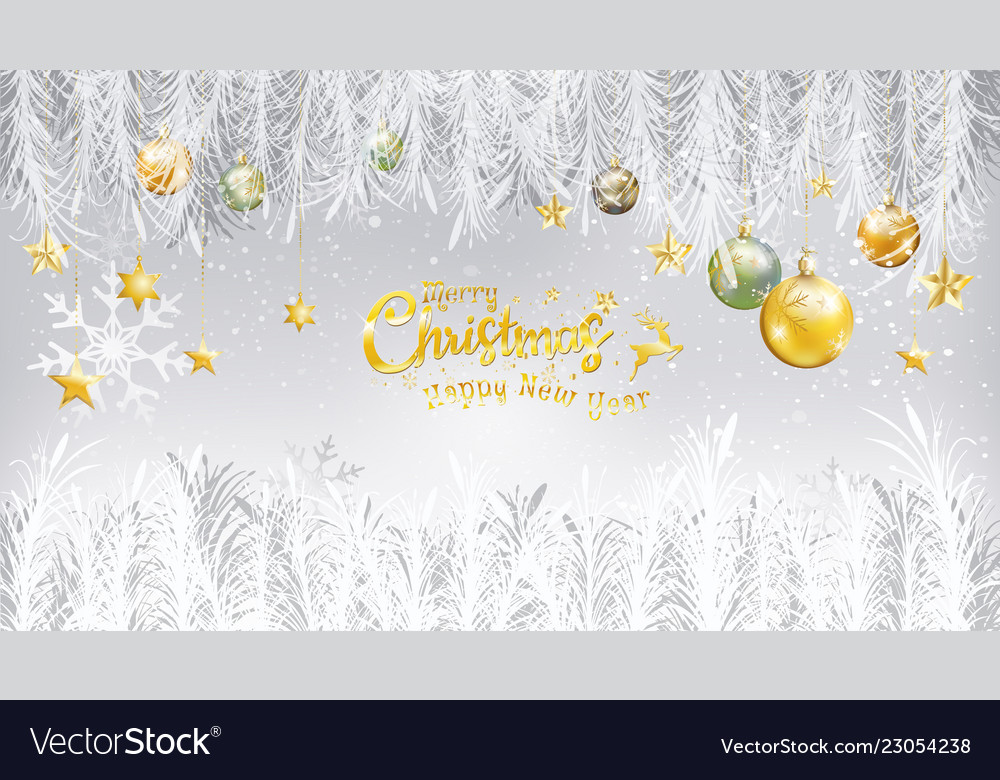 Merry christmas happy new year and gold