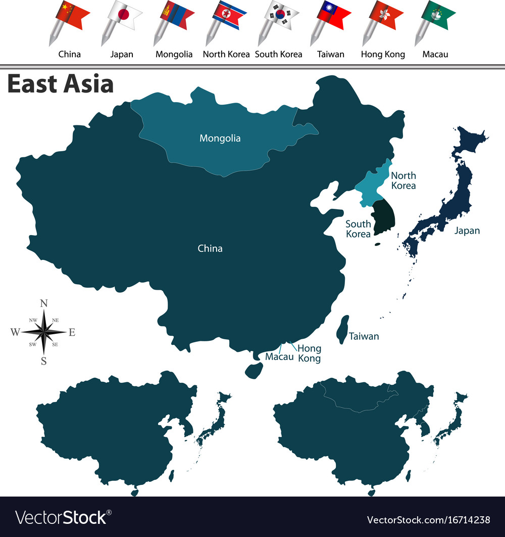 Political map of east asia Royalty Free Vector Image
