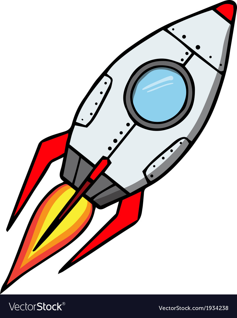 space rocket cartoon royalty free vector image