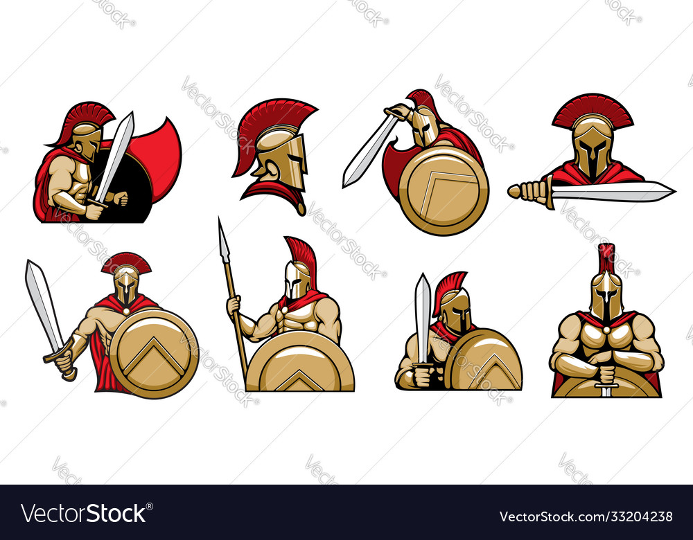 Spartan warriors knights with helmet and shield