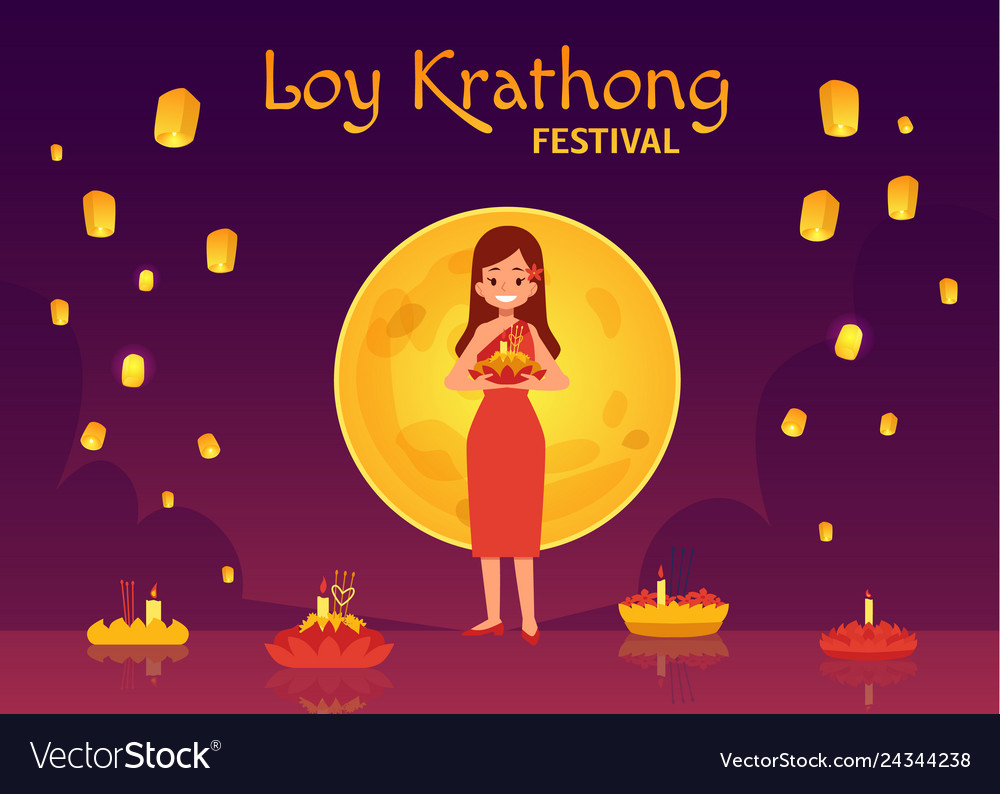 Thailand loy krathong and yee peng festival in
