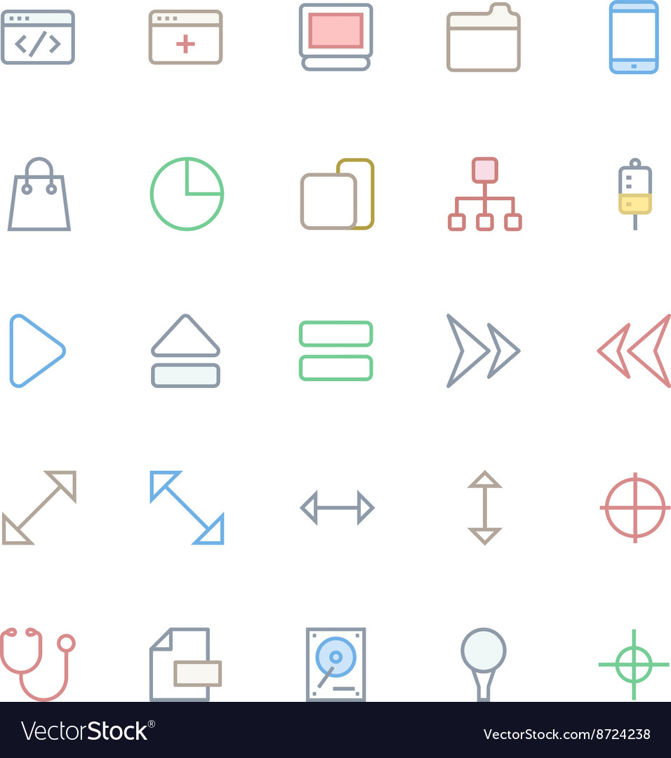 User Interface Colored Line Icons 19