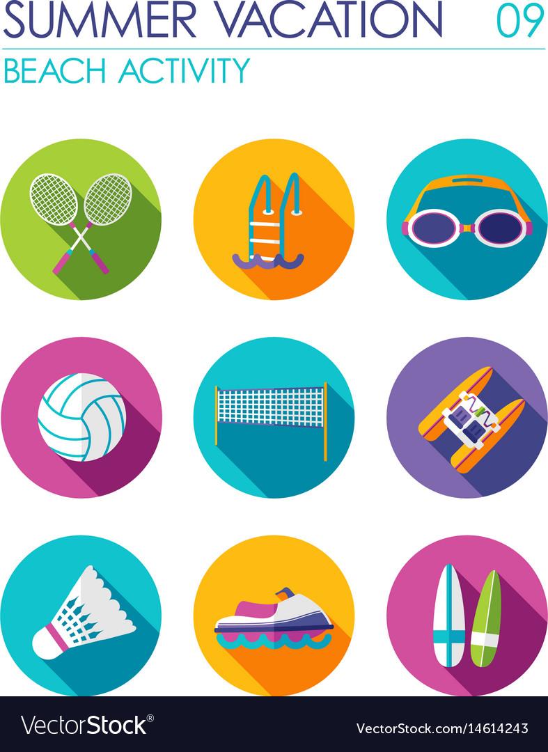 beach activity flat icon set summer vacation vector image vectorstock