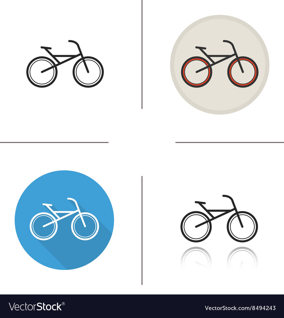 Bicycle flat design linear and color icons set
