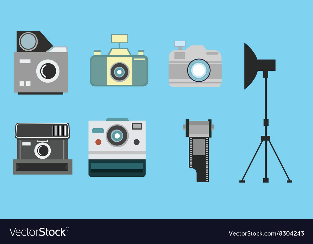 Camera vintage flat icon set film roll photography