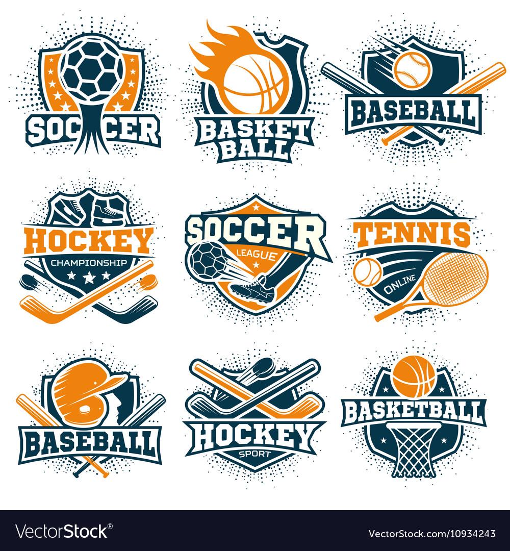 Colorful Sport Emblems Set
