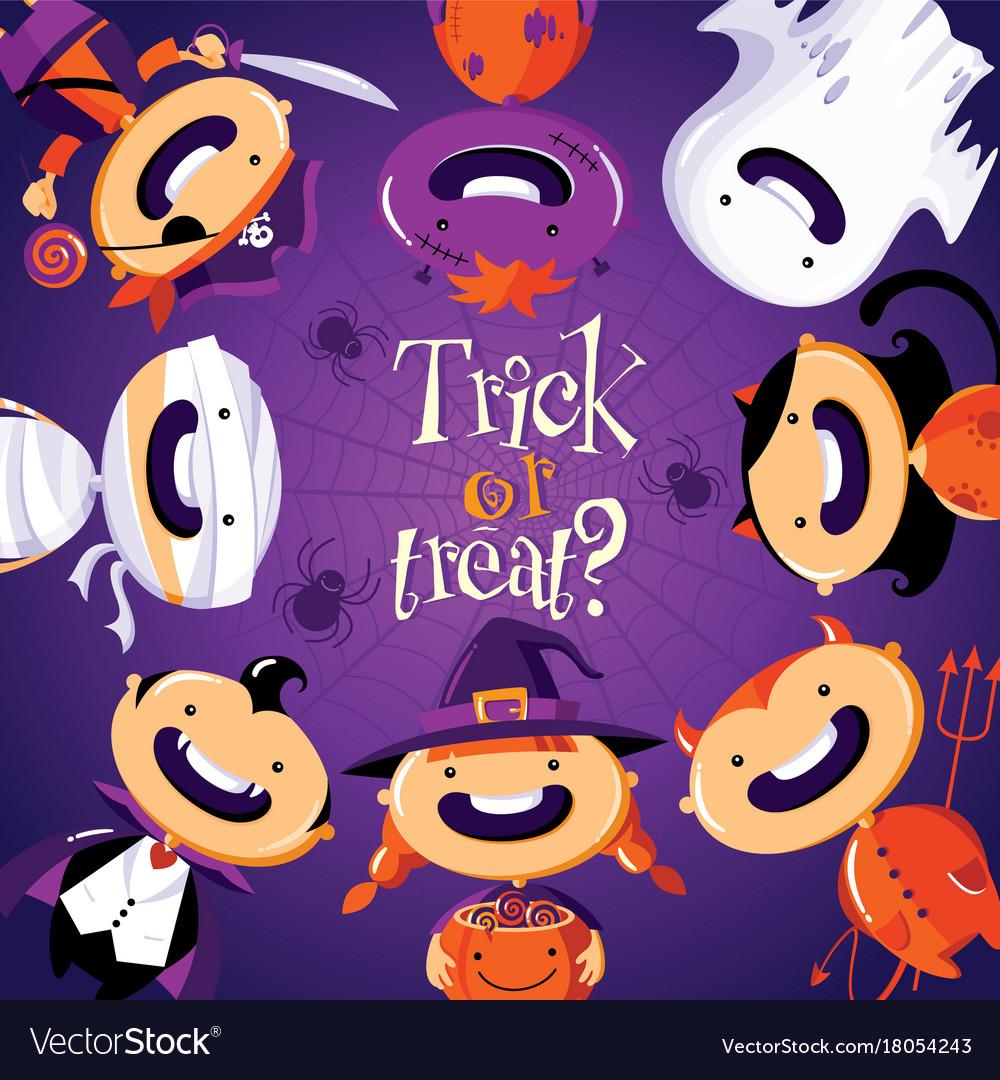 Halloween card with cute cartoon children in