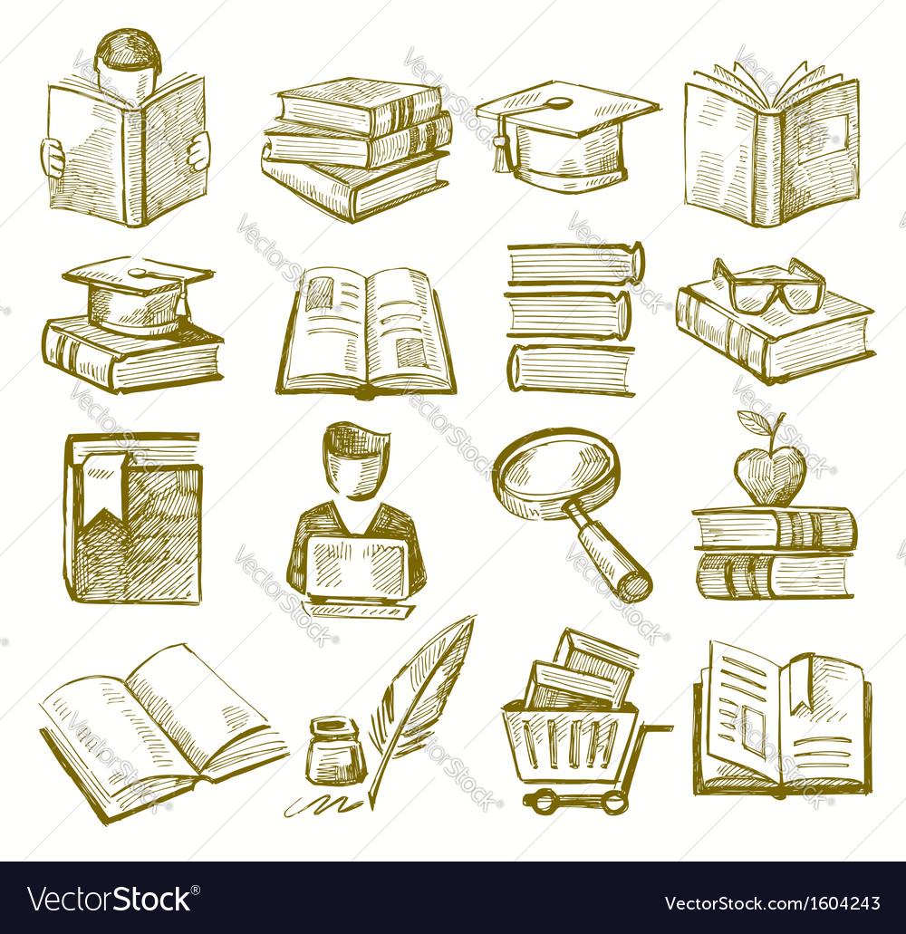 Hand draw books vector image