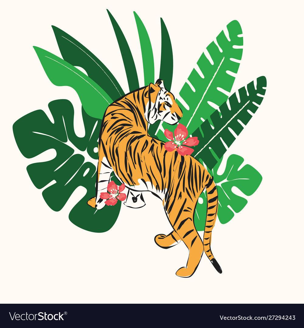 Hand drawn tiger with exotic tropical leaves flat