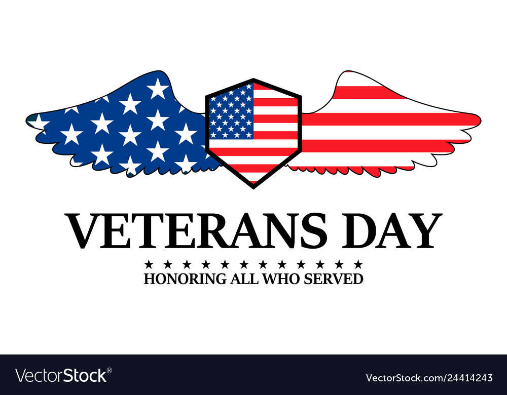 Happy veterans day on a white background