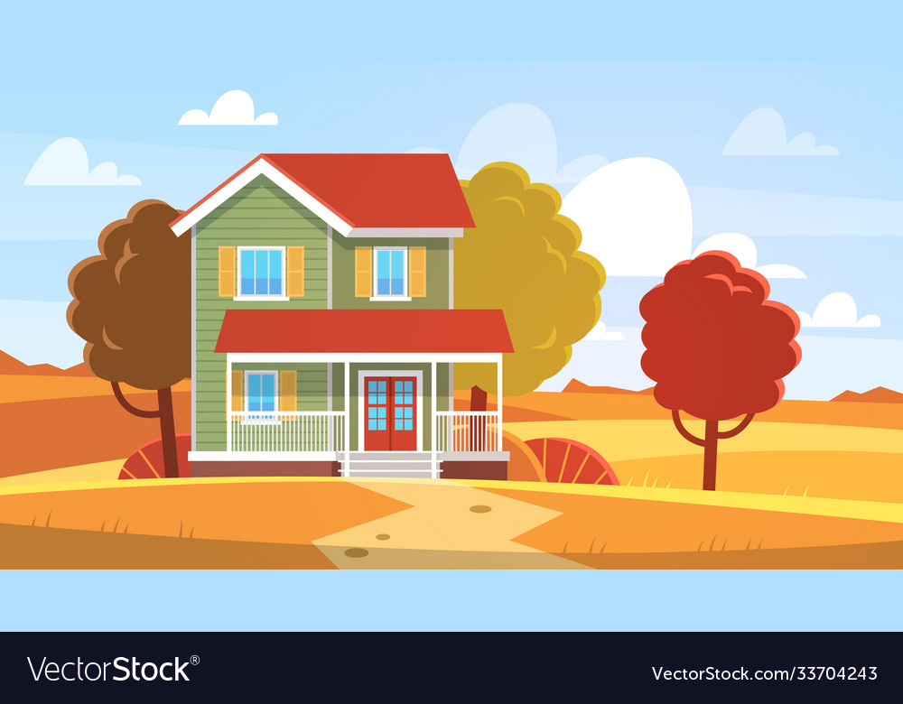 House in autumn home in fall landscape