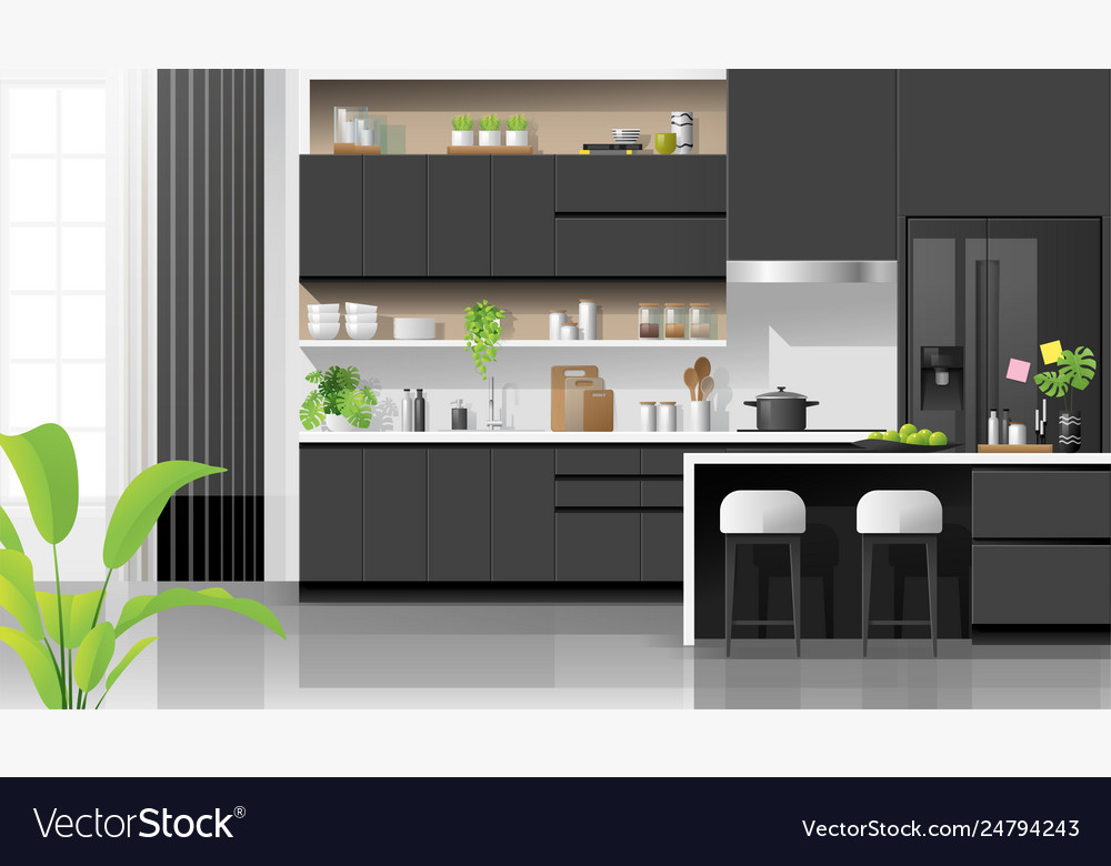 Modern Black And White Kitchen Background Vector Image
