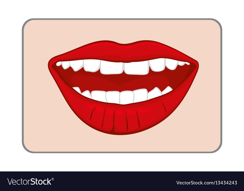 Red smiling womans lips vector image