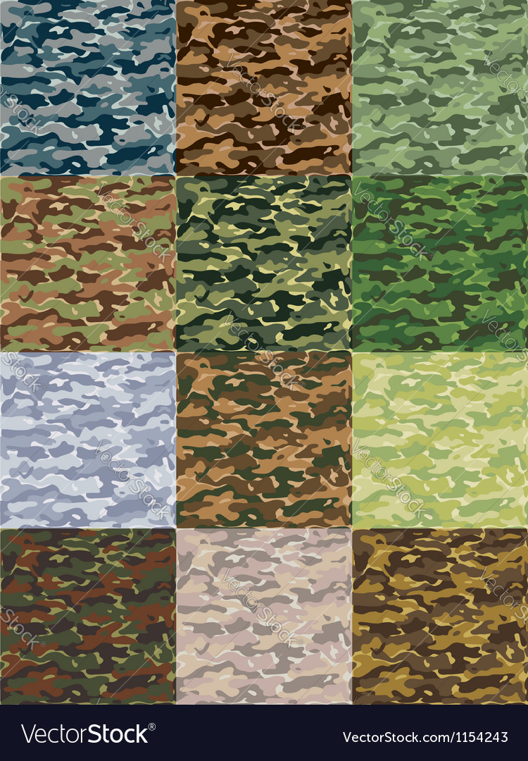 Seamless camouflage patterns in 12 colors vector image