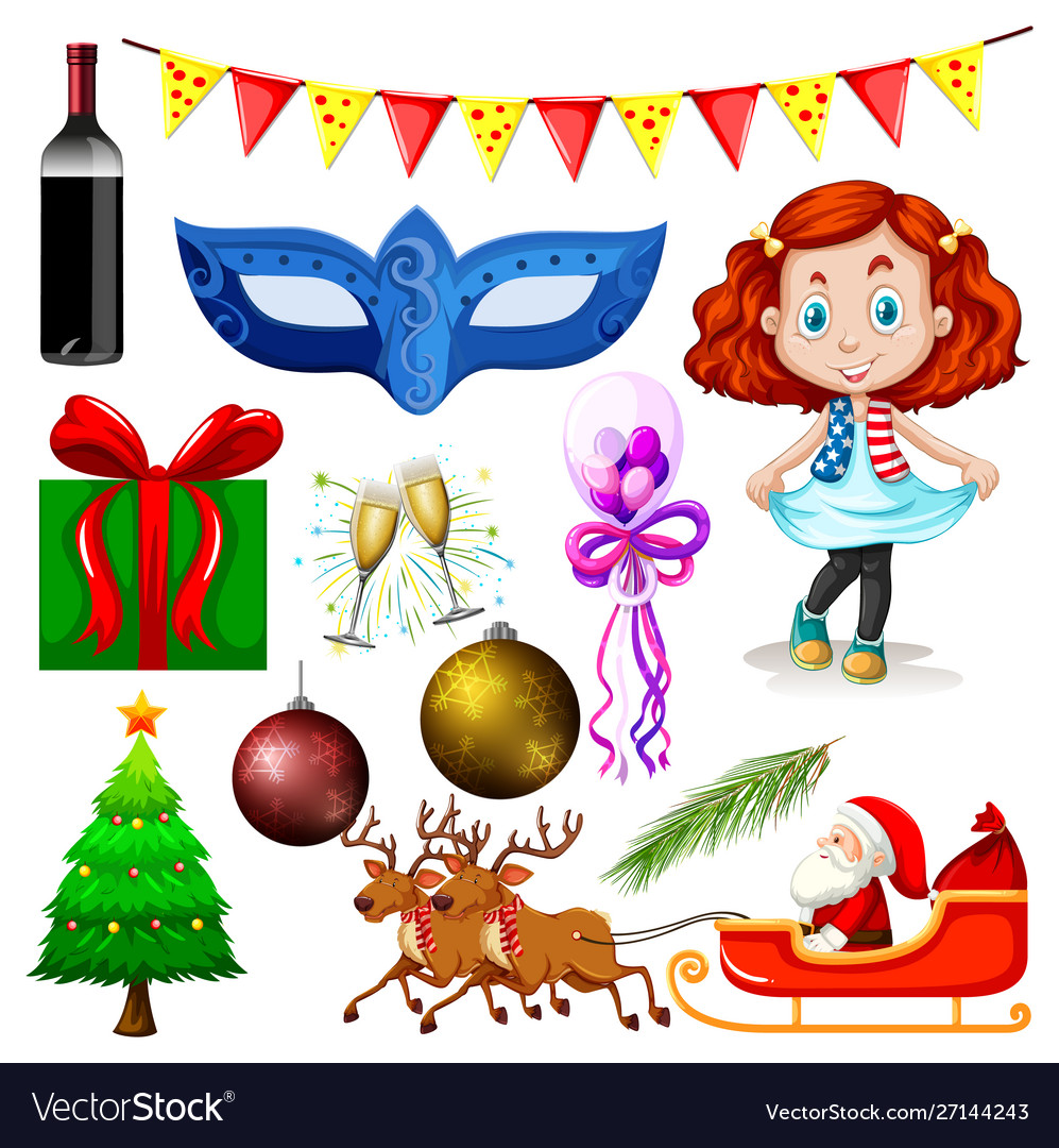 Set isolated objects christmas theme
