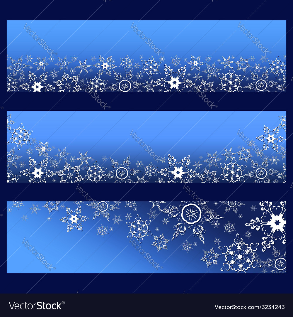 Set of blue banners with 3d snowflake