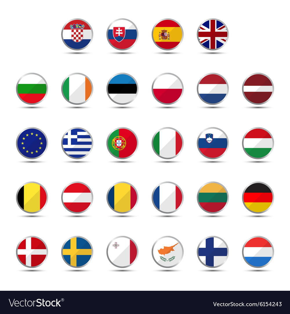Set of European Union country flags