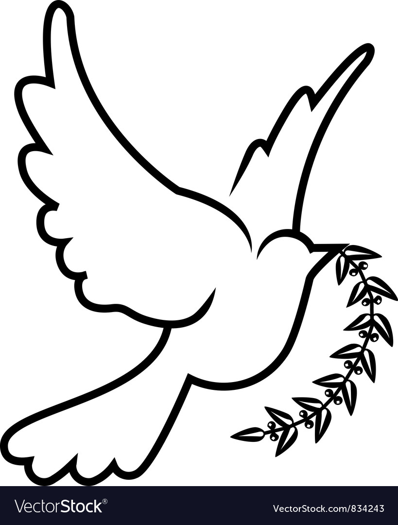 Symbol Of Dove Olive Branch Royalty Free Vector Image
