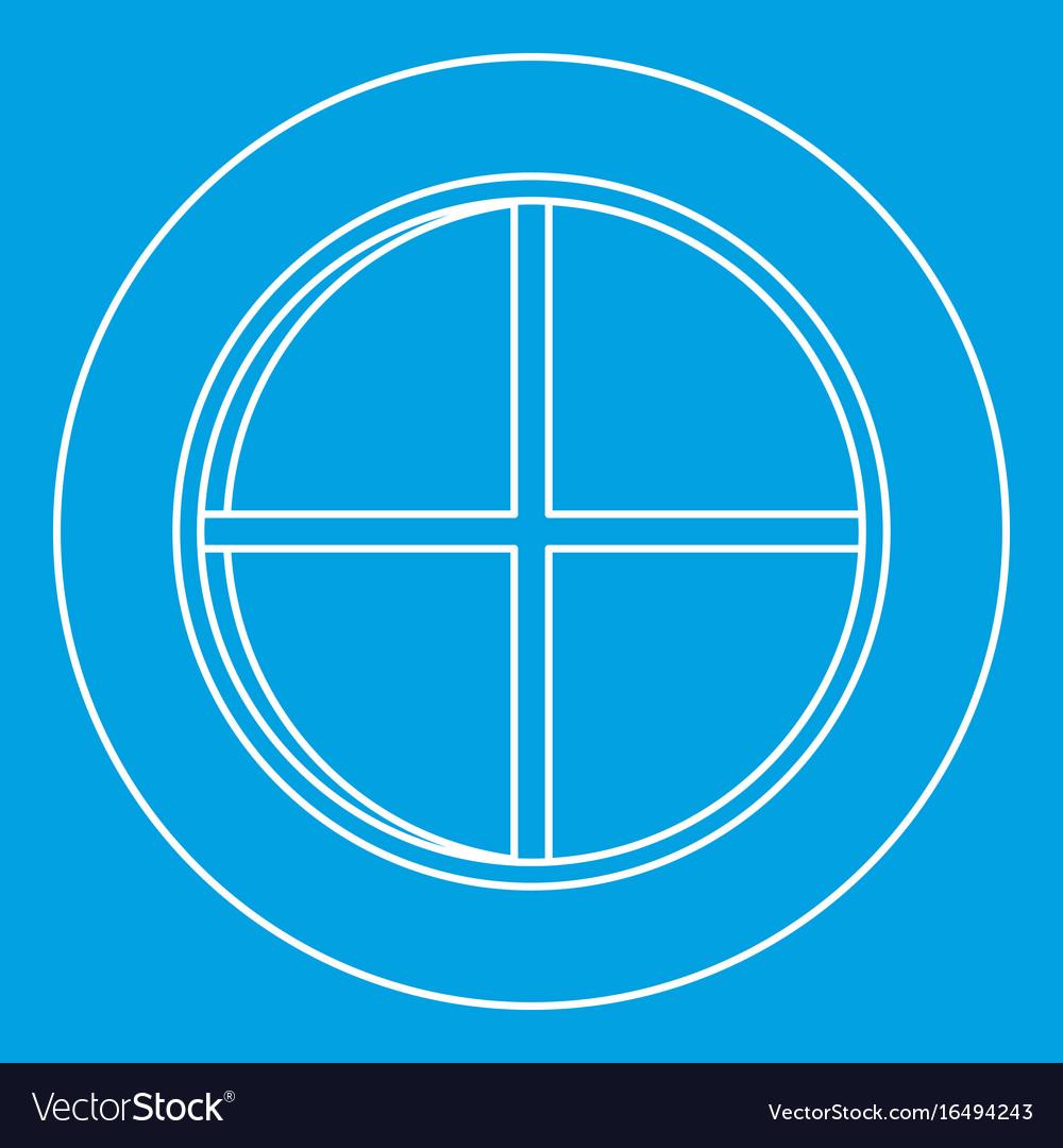White round window icon outline
