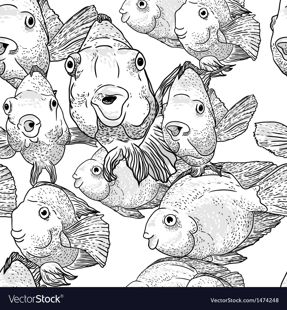 Abstract graphics fish on background of waves