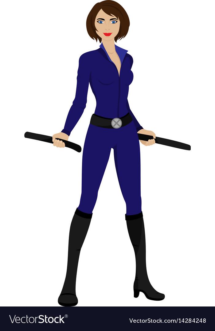 Beautiful superwoman in a pride pose suit vector image