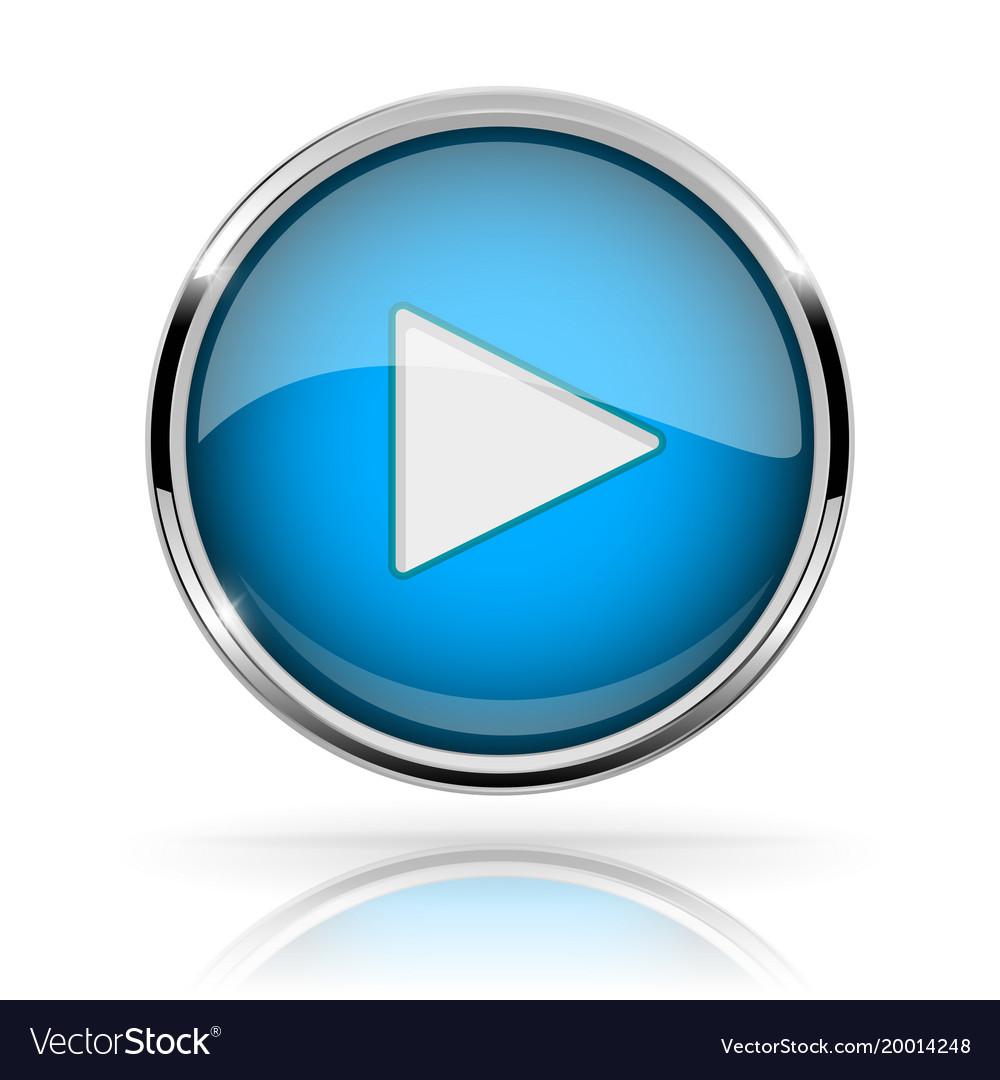 Blue round media button play button shiny icon