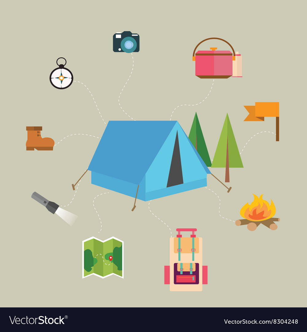 Camping hiking icon set of map tent compass flag
