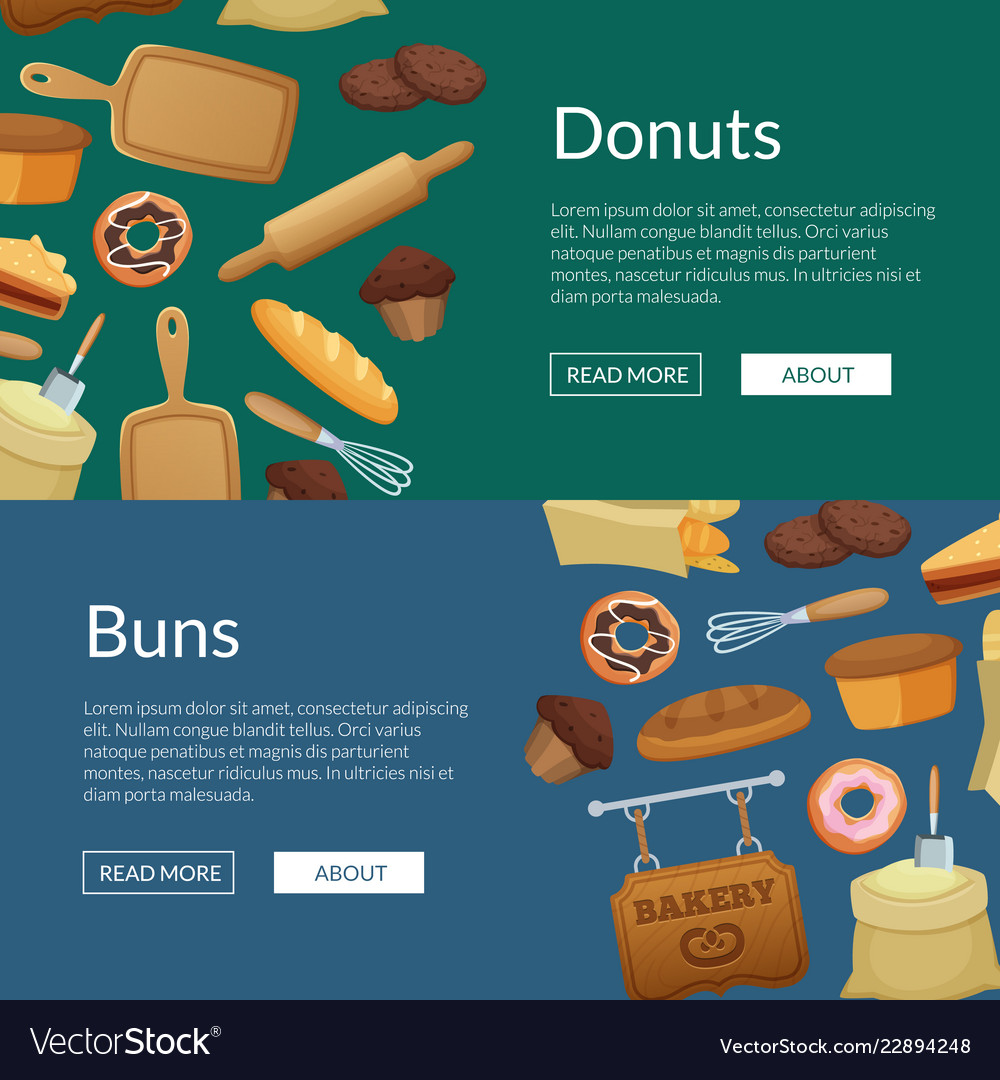 Cartoon bakery web banner templates