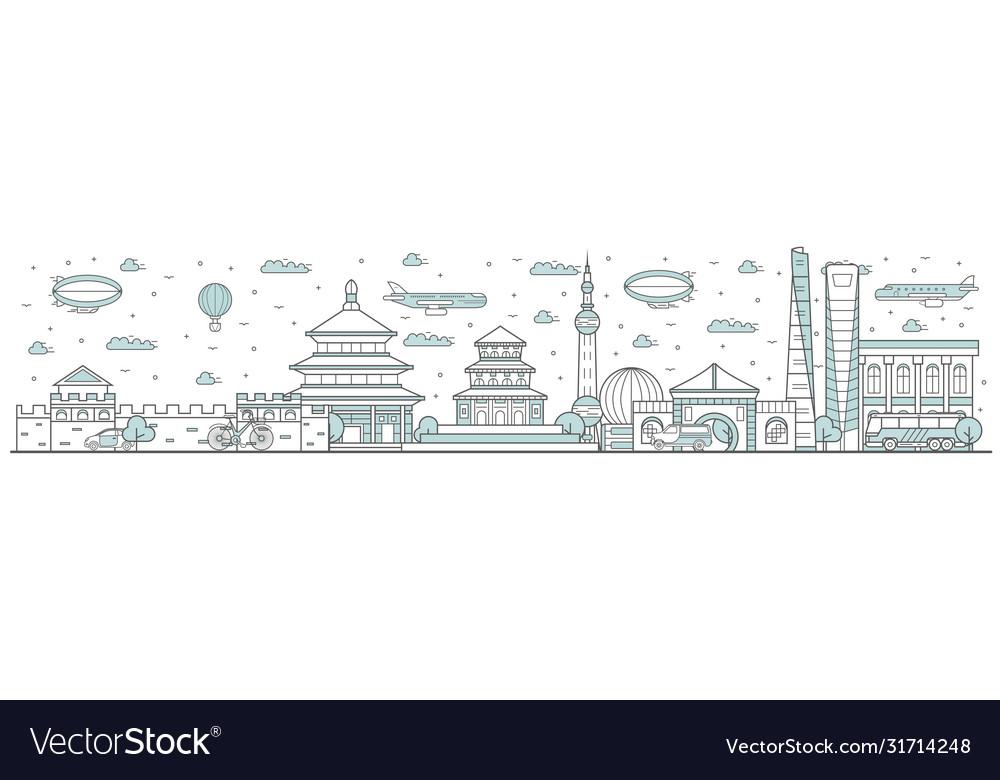 China skyline line cityscape
