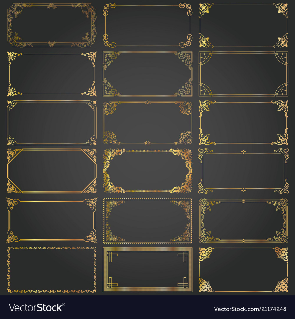 Decorative rectangle frames and borders set gold