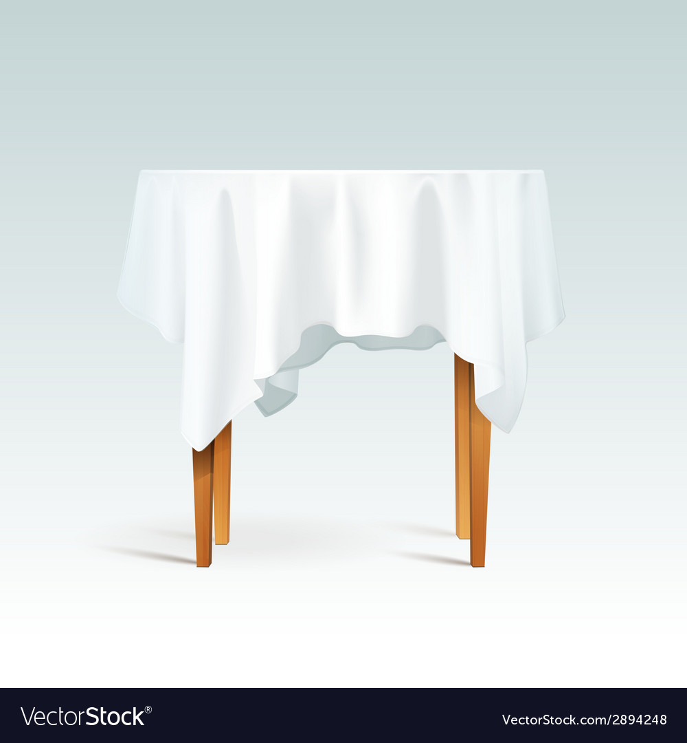 Round Table With Tablecloth.Empty Wood Round Table With Tablecloth