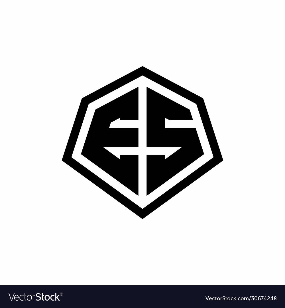Es Monogram Logo With Hexagon Shape And Line Vector Image