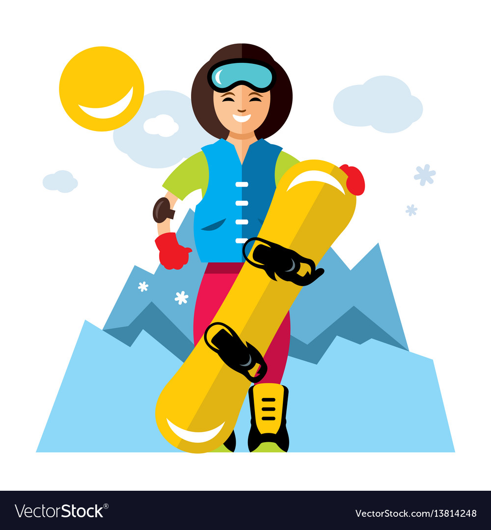 Girl with snowboard snowboarding flat