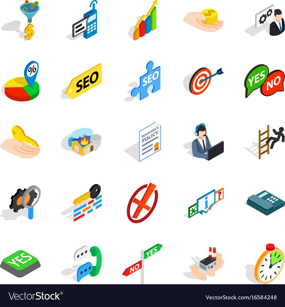 Headquarters icons set isometric style