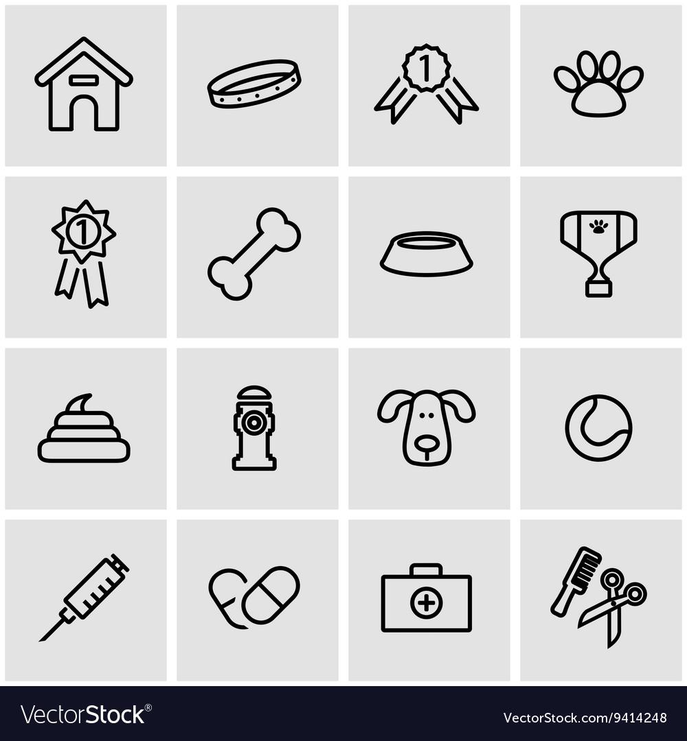 Line dog icon set vector image